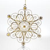Stars Snowflake Capiz Ornament