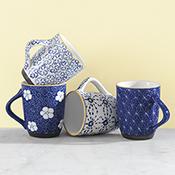 Ornate Blue Set of 4 Mugs
