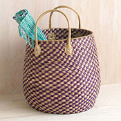 Plum Checkered Basket