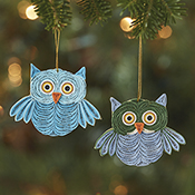 Quilled Owl Ornaments Set