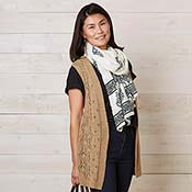 Long Knit Diamond Vest - Camel