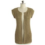 Long Crocheted Cardigan - Tan